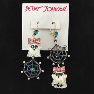 💕NEW💕Betsey Johnson Ghost & Spider Web Earrings